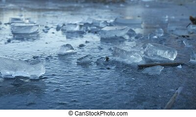 Ice frozen water on the river ice break debris beautiful winter nature landscape