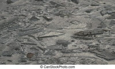 ice frozen water puddle cracked winter nature
