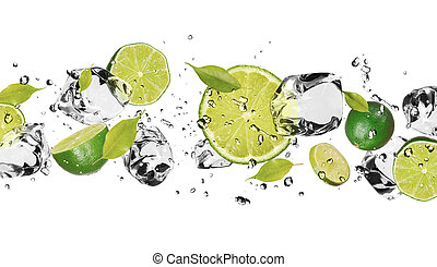 Ice fruit - Pieces of limes with ice cubes, isolated on...