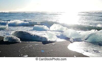 Ice glacier black beach