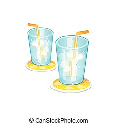 ice glass. Vector Illustration Isolated on White Background