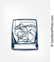 ice glass whiskey vector one line art drink isolated sketch