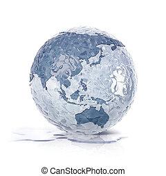 ice globe 3D illustration asia and australia map