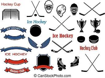 Ice hockey and heraldic symbols or items