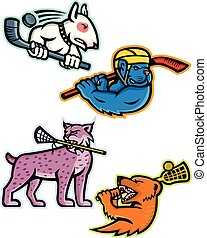 Ice Hockey and Lacrosse Sports Mascot Collection