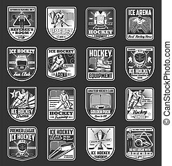 Ice hockey arena, sport cup championship badges