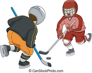 Ice Hockey Boys - Illustration Featuring Little Boys Playing...