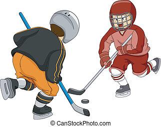 Ice Hockey Boys - Illustration Featuring Little Boys Playing...