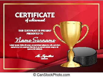 Ice Hockey Certificate Diploma With Golden Cup Vector. Sport Award Template. Achievement Design. Honor Background. A4 Horizontal. Illustration