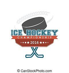 Ice hockey championship emblem vector.