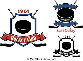 Ice hockey club emblems or badges