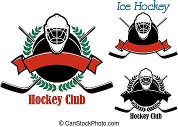 Ice hockey club emblems with sport items
