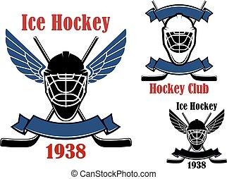Ice hockey club icons with sport items