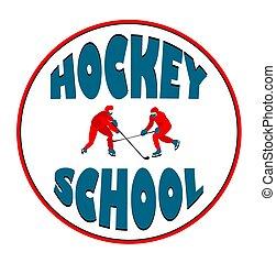 Ice hockey. Emblem for school sports. vector illustration.