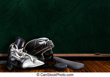 Ice Hockey Equipment and Chalk Board Copy Space