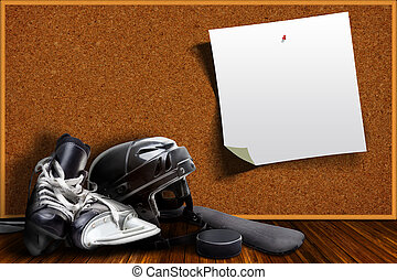 Ice Hockey Equipment and Cork Board Copy Space