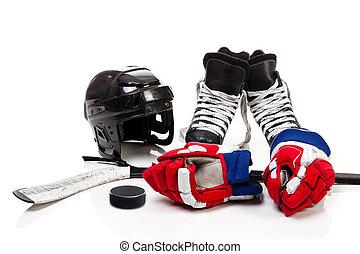 Ice Hockey Equipment Isolated on White Background