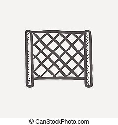Ice hockey goal net sketch icon