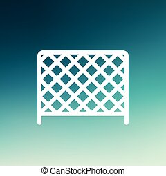 Ice hockey goal net thin line icon