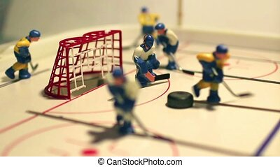 ice hockey Goal - hockey table game Goal macro shot