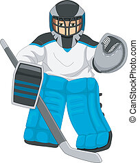 Ice Hockey Goalie - Illustration of a Man Dressed as an Ice...