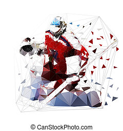 Ice hockey goalie in red jersey, isolated low polygonal...