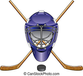 Ice Hockey Goalie Mask Sticks Puck - Illustration of an ice...