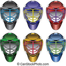Illustration of ice hockey goalie masks in six different colors six with different color face cages.