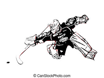 ice hockey goalkeeper - illustration of ice hockey...
