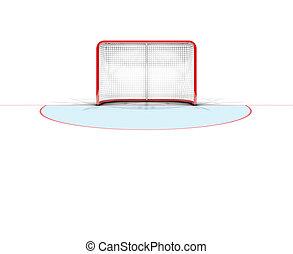 Ice Hockey Goals - A 3D render of an ice hockey goal on an...
