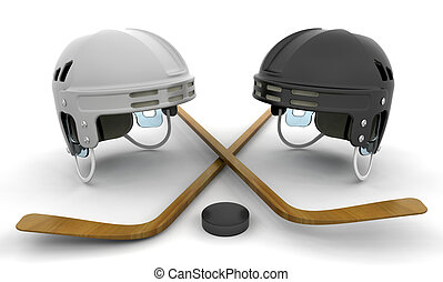 Ice hockey helmets, sticks and puck - 3D render of ice...