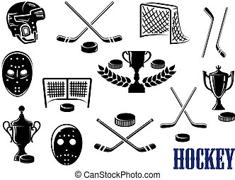 Ice hockey emblem and logo design elements with hockey pucks, masks, helmet, crossed sticks, gates and trophy cups decorated laurel wreath