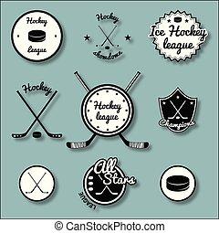 ice hockey label vector art