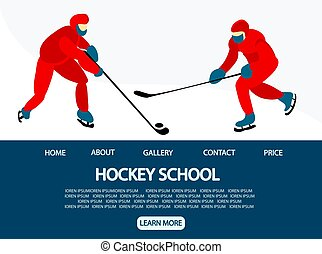 Ice hockey. Landing page for the site. Template for a sports organization. vector illustration.