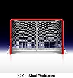 Ice hockey net, goal on black