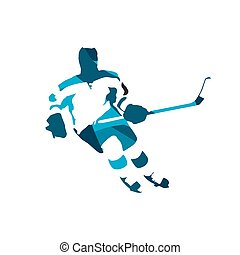 Ice hockey player, abstract blue vector silhouette