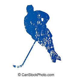 Ice hockey player, abstract grungy vector silhouette