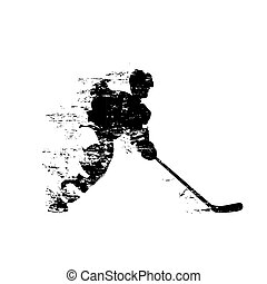 Ice hockey player, abstract isolated vector silhouette