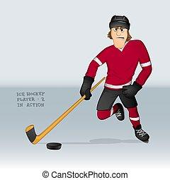 ice hockey player attacking