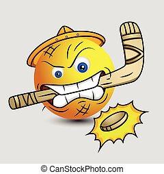 Ice Hockey Player - Emoticon Vector
