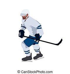 Ice hockey player, flat design geometric vector illustration
