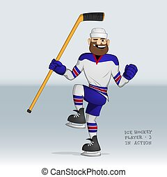 ice hockey player happy about good shot smiling without one...