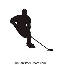 Ice hockey player, isolated vector silhouette. Winter sport