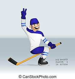 ice hockey player riding the stick