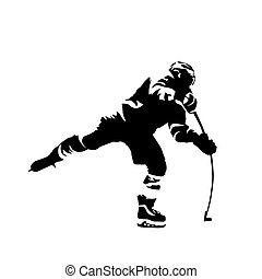 Ice hockey player shooting puck, abstract black vector silhouette