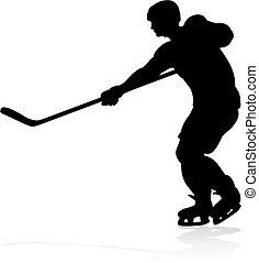 Ice Hockey Player Silhouette - A detailed silhouette hockey...