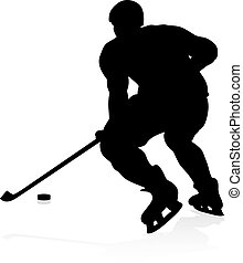 Ice Hockey Player Silhouette - An ice hockey player...