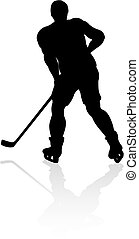 An ice hockey player silhouette sports illustration