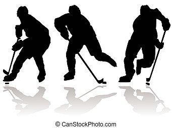 ice hockey player silhouette - Three ice hockey silhouette...