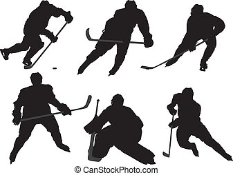 Ice Hockey Player Silhouette on white background